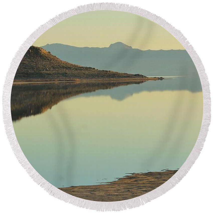 Nature Round Beach Towel featuring the photograph Salt Lake Reflections 3 by Tonya Hance