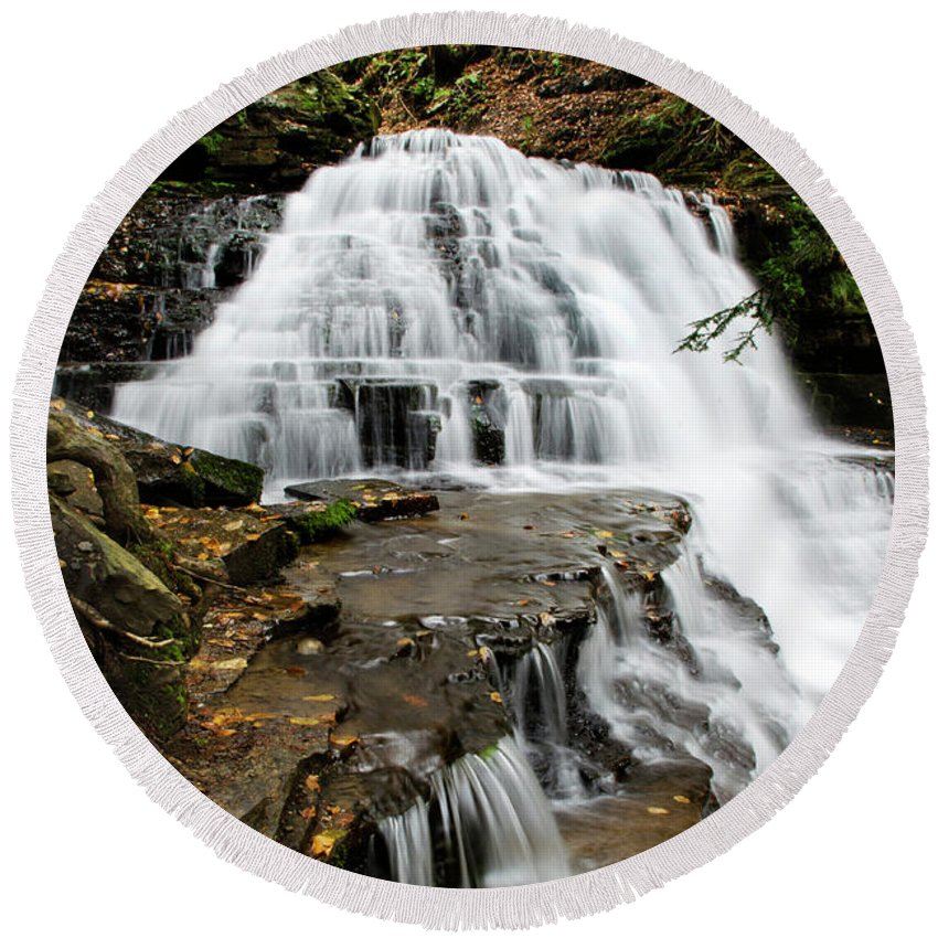 Salt Springs Round Beach Towel featuring the photograph Salt Springs Waterfall by Christina Rollo