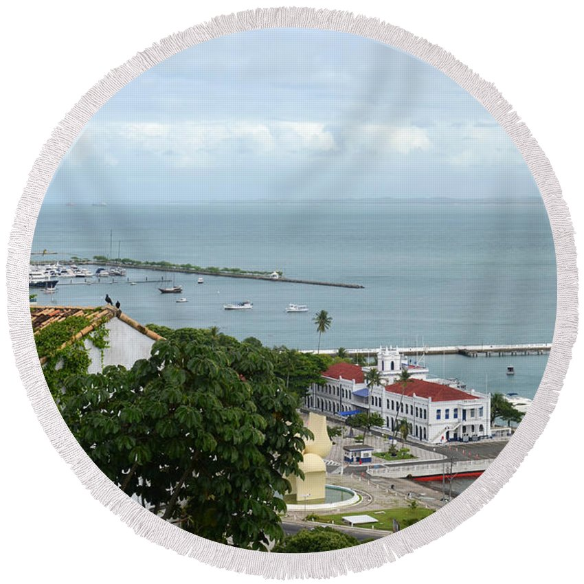 Lacerda Round Beach Towel featuring the photograph Salvador Da Bahia - Brazil by Ralf Broskvar