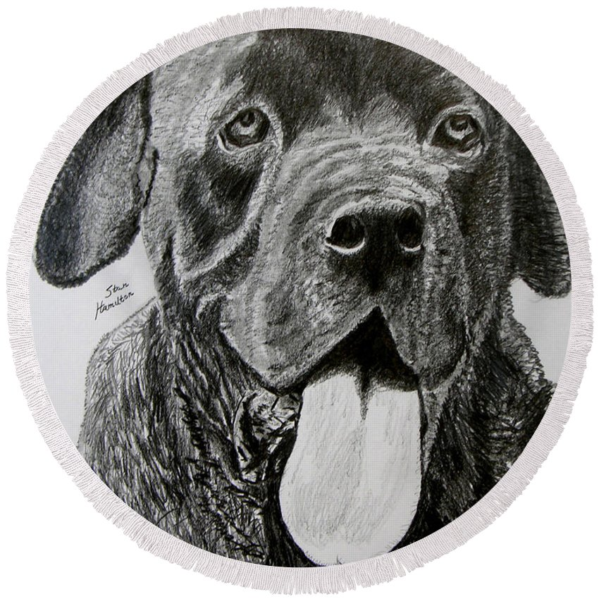 Dog Portrait Round Beach Towel featuring the drawing Sampson by Stan Hamilton