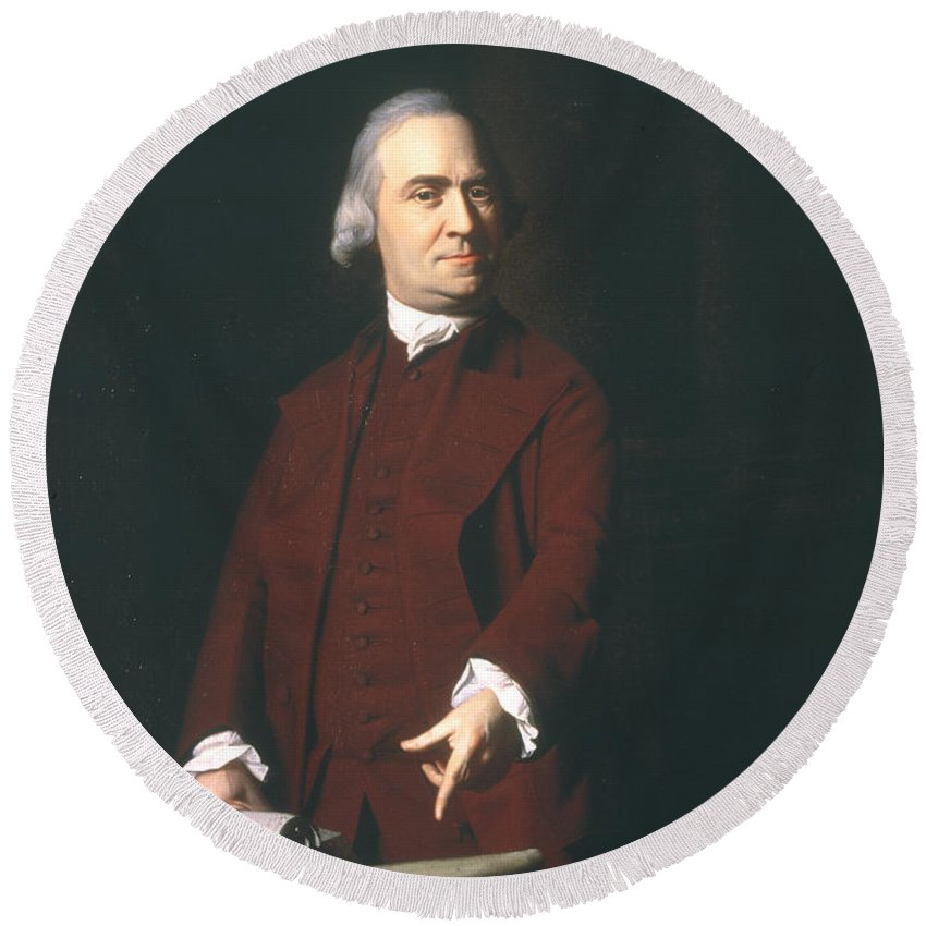 1772 Round Beach Towel featuring the photograph Samuel Adams (1722-1803) by Granger