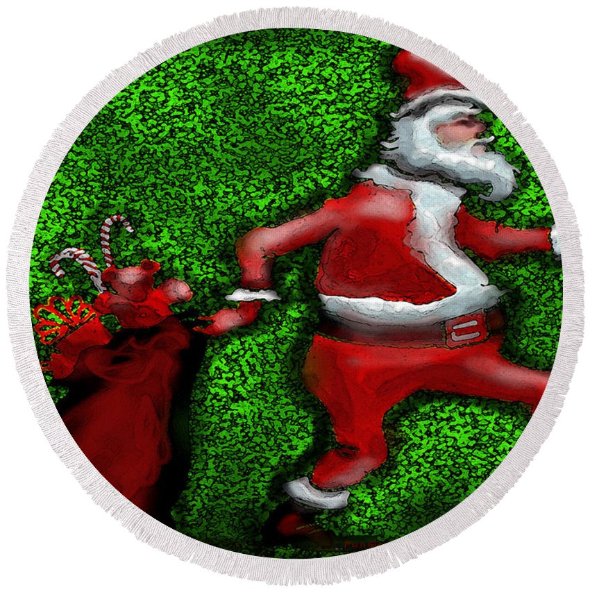 Santa Round Beach Towel featuring the greeting card Santa Claus by Kevin Middleton