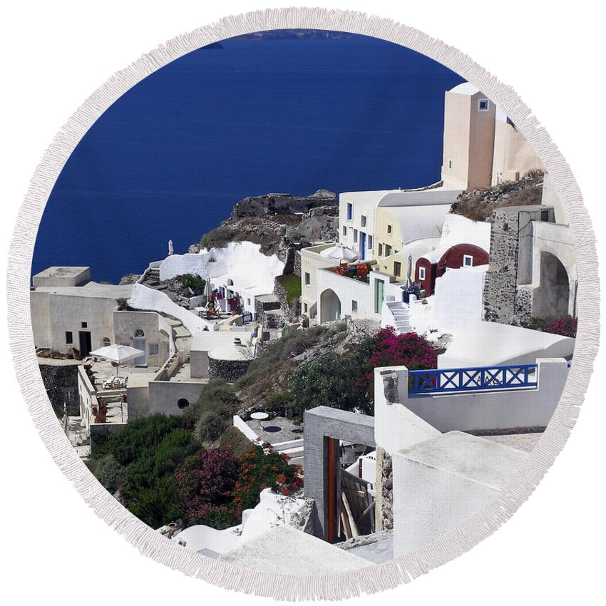 White Buildings Round Beach Towel featuring the photograph Santorini Overview by Sally Weigand
