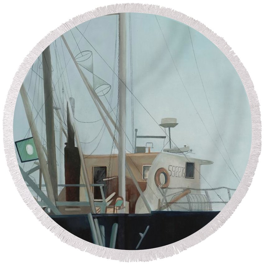 Work Boats Round Beach Towel featuring the painting Scallop Boat by Joyce Timberlake