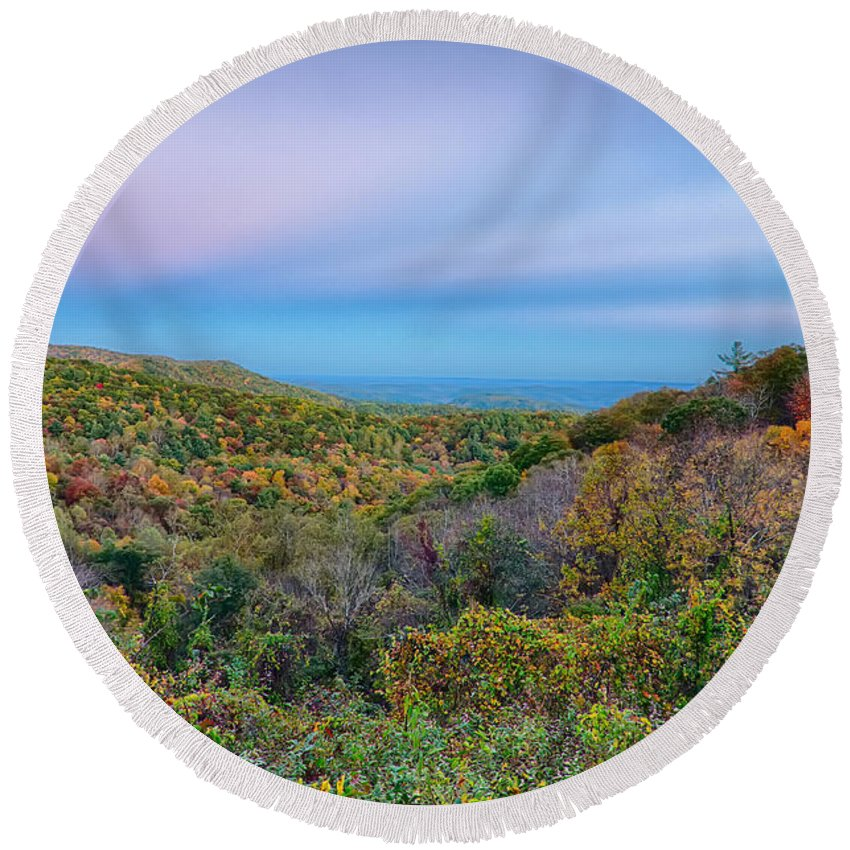 Mountain Round Beach Towel featuring the photograph Scenic Blue Ridge Parkway Appalachians Smoky Mountains Autumn La by Alex Grichenko