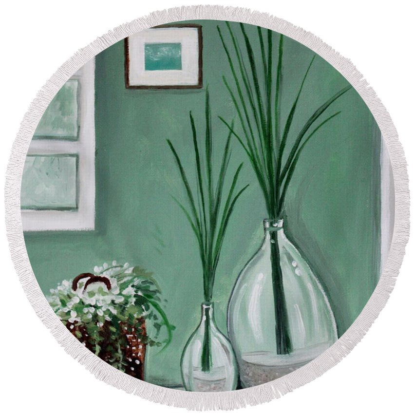 Home Decor Art Round Beach Towel featuring the painting Sea Grass by Elizabeth Robinette Tyndall