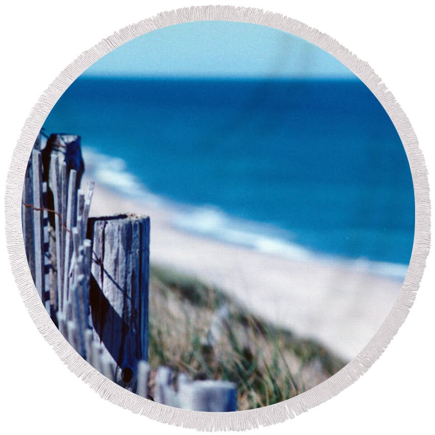 Photograph Round Beach Towel featuring the photograph Seafence by Steven Scanlon