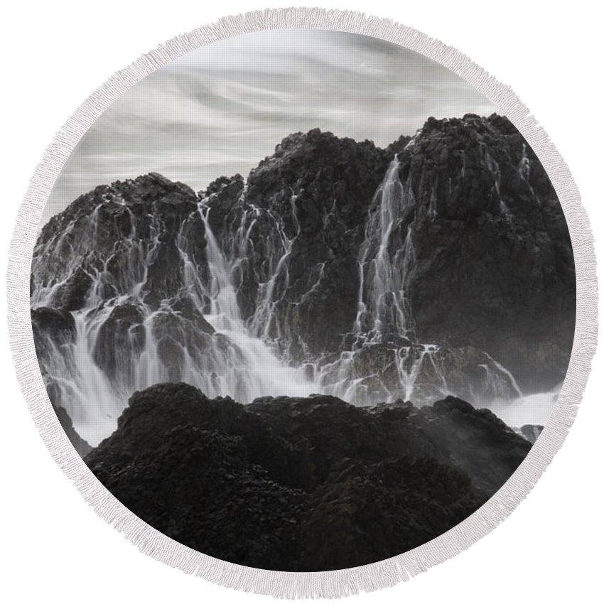 Seal Rock Round Beach Towel featuring the photograph Seal Rocks Waves And Rocks 3 Bw by Bob Neiman