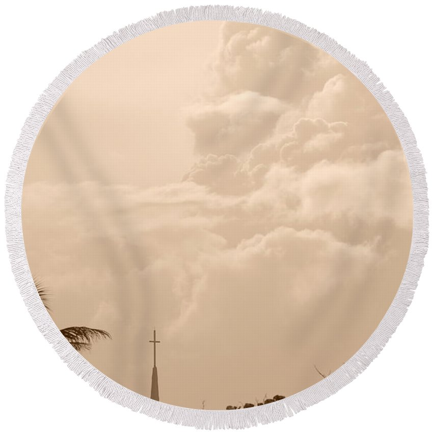 Sepia Round Beach Towel featuring the photograph Sepia Sky by Rob Hans