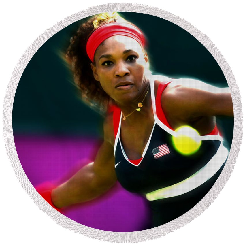Serena Williams Round Beach Towel featuring the mixed media Serena Williams Eye On The Prize by Brian Reaves