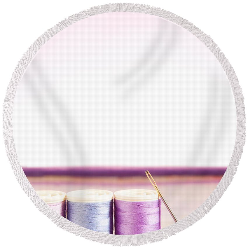Needle Round Beach Towel featuring the photograph Sewing Threads And Needle On A Painted Wooden Box by Wolfgang Steiner