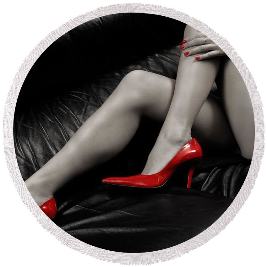 Legs Round Beach Towel featuring the photograph Sexy Long Legs In Red High Heels by Maxim Images Prints