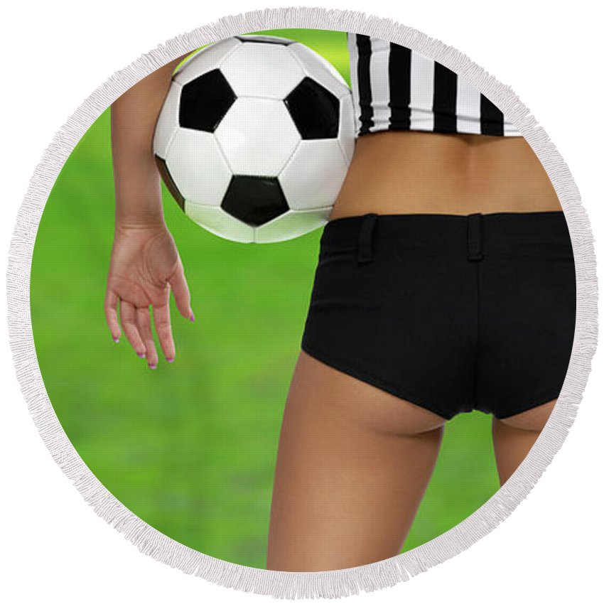 Soccer Round Beach Towel featuring the photograph Sexy Referee by Maxim Images Prints