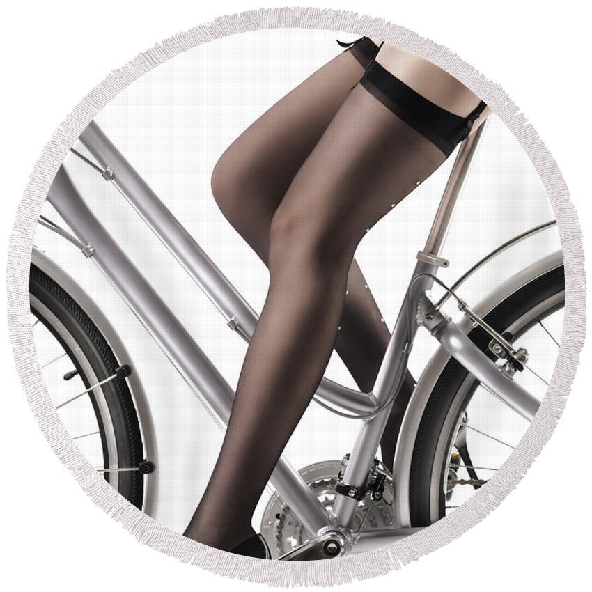 Legs Round Beach Towel featuring the photograph Sexy Woman Riding A Bike by Maxim Images Prints