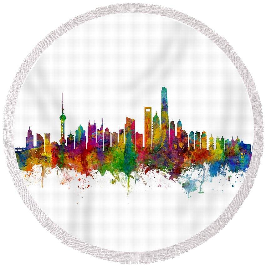 Shanghai Round Beach Towel featuring the digital art Shanghai China Skyline by Michael Tompsett