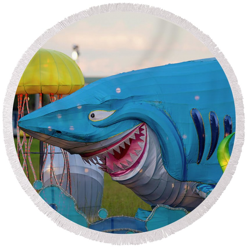 New York State Chinese Lantern Festival Round Beach Towel featuring the photograph Shark by David Stasiak