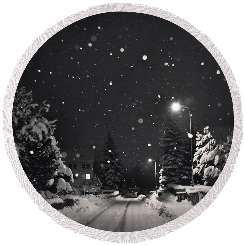 Snow Round Beach Towel featuring the photograph Silent Night by Dorit Fuhg