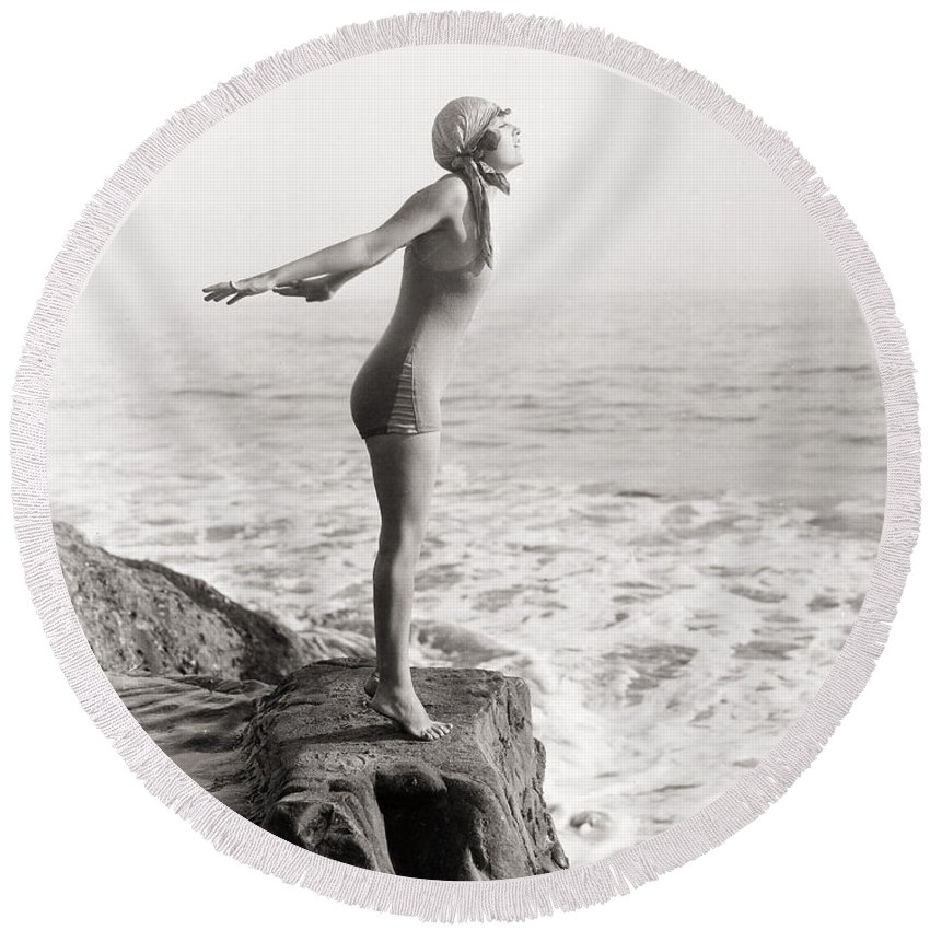 -bathing: Women's Suit & Pool- Round Beach Towel featuring the photograph Silent Still: Bather by Granger