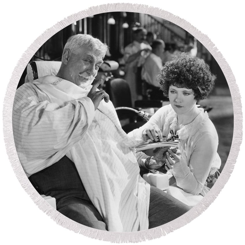 -barbers & Beatuy Salons- Round Beach Towel featuring the photograph Silent Still: Beauty Salon by Granger
