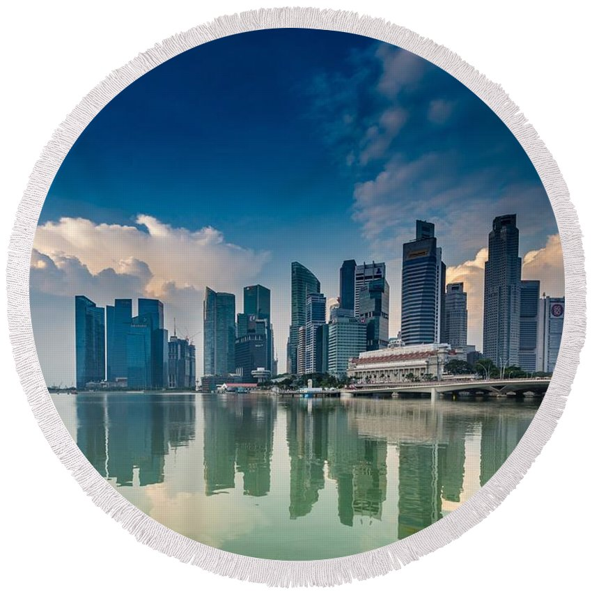 Asia Round Beach Towel featuring the photograph Singapore by FL collection