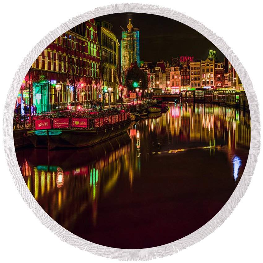 Amsterdam Round Beach Towel featuring the photograph Singel by Jonah Anderson