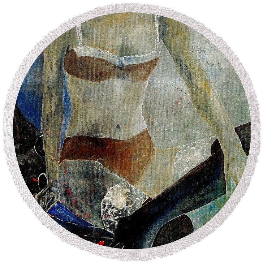 Nude Round Beach Towel featuring the painting Sitting Girl by Pol Ledent