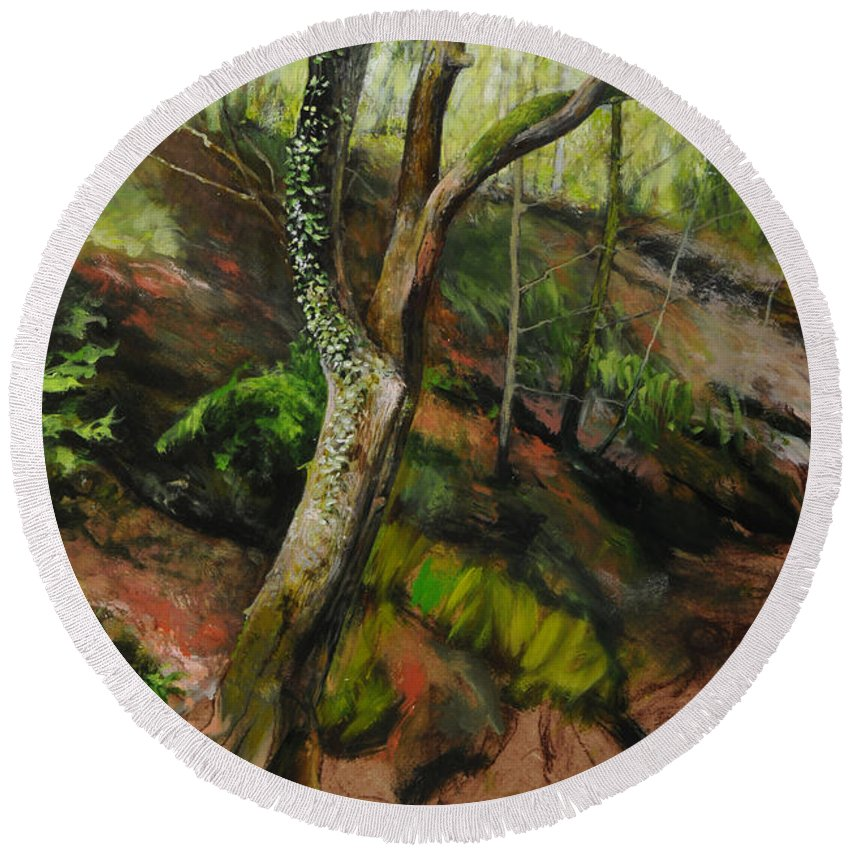 Landscape Round Beach Towel featuring the painting Sketch Of A Treetrunk by Harry Robertson