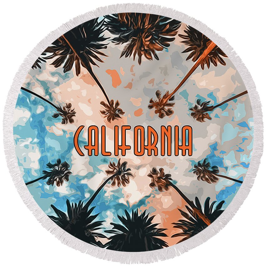 California Sunset Round Beach Towel featuring the painting Skies Of California by Andrea Mazzocchetti