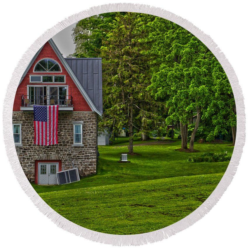 Flag Round Beach Towel featuring the photograph Sodus Point by William Norton