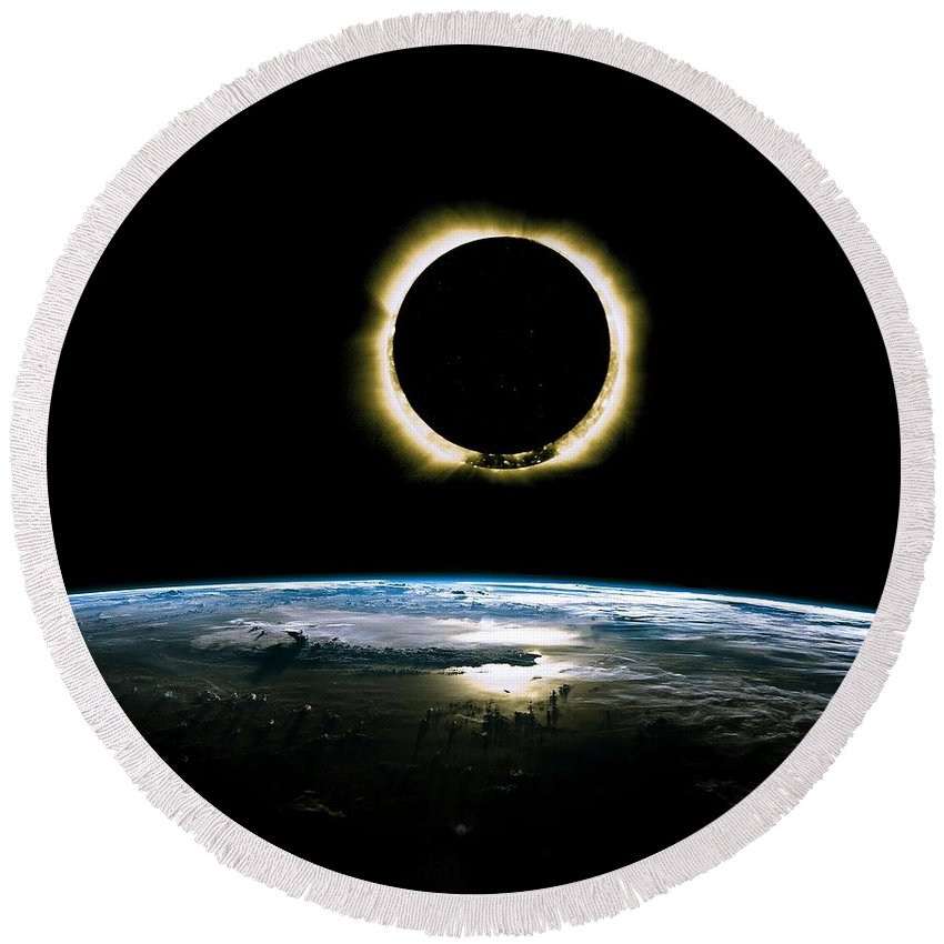 Sun Round Beach Towel featuring the painting Solar Eclipse From Above The Earth - Infrared View by Celestial Images