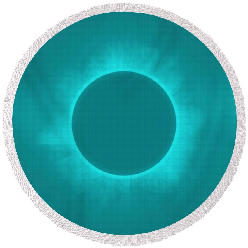 Sun Round Beach Towel featuring the painting Solar Eclipse In Turquoise Color by Celestial Images