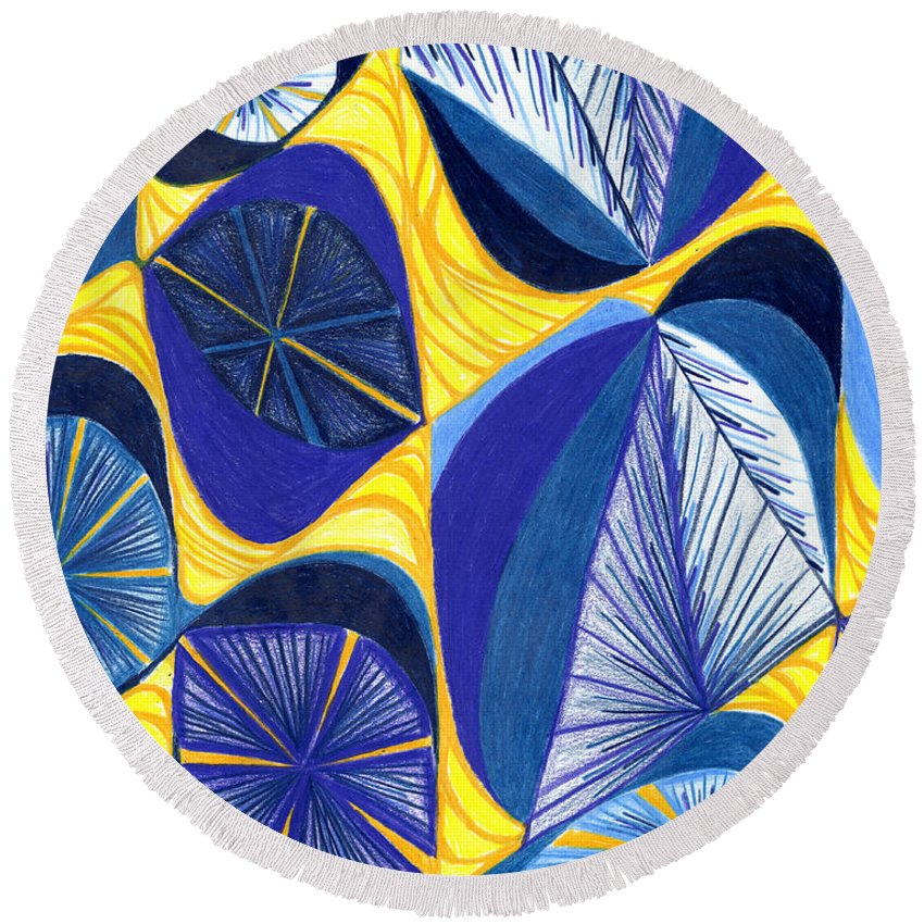 Abstract Round Beach Towel featuring the drawing Solar Rays by Kim Sy Ok