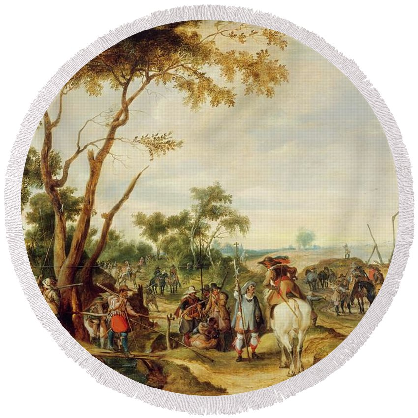 Pieter Snayers Soldiers Bivouacking Round Beach Towel featuring the painting Soldiers Bivouacking by Pieter Snayers