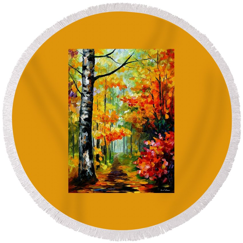 Afremov Round Beach Towel featuring the painting Soul Time by Leonid Afremov