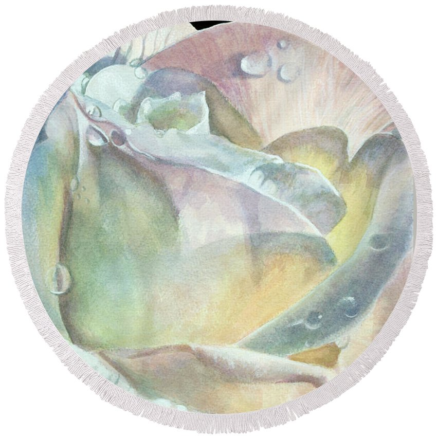 Dew Drops Round Beach Towel featuring the painting Sparkler by Barbara Keith