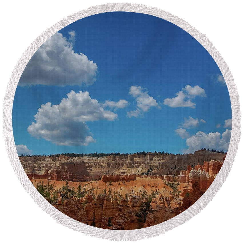 Bryce Canyon Round Beach Towel featuring the photograph Spires Of Bryce Canyon by Bob Cuthbert