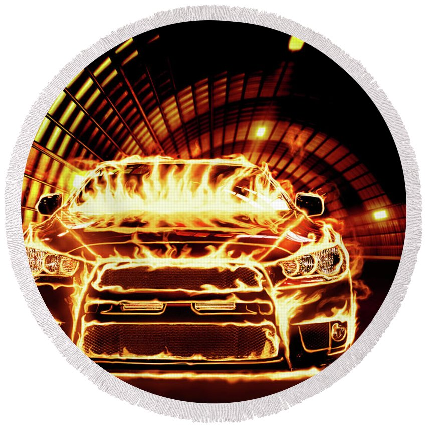 Car Round Beach Towel featuring the photograph Sports Car In Flames by Maxim Images Prints