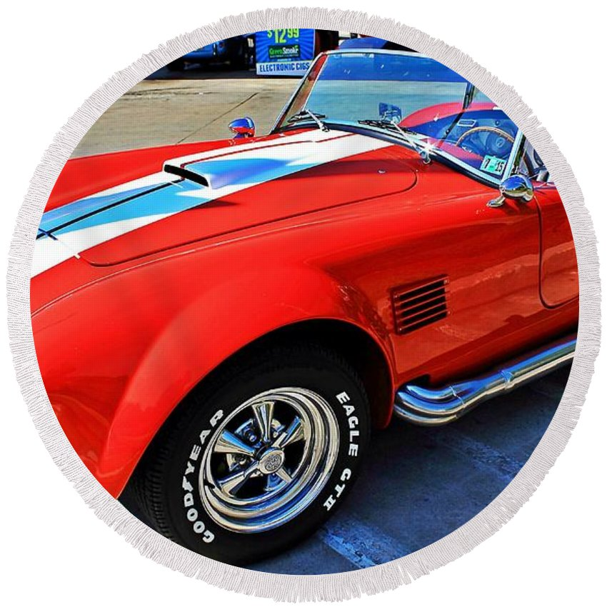 Sports Round Beach Towel featuring the photograph Sports Car by Karl Rose