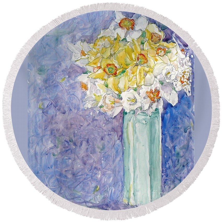 Watercolor Round Beach Towel featuring the painting Spring Blossoms by Jan Bennicoff