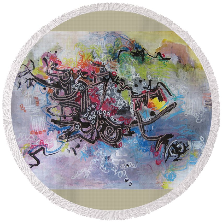 Abstract Painting Round Beach Towel featuring the painting Spring Fever8 by Seon-Jeong Kim
