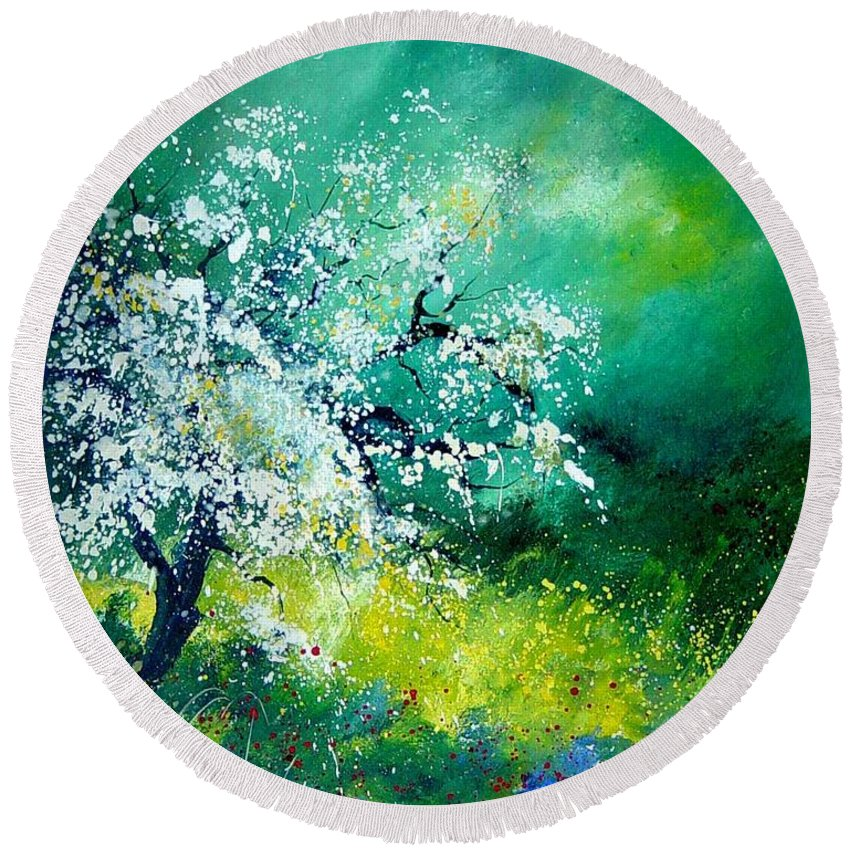 Flowers Round Beach Towel featuring the painting Spring by Pol Ledent