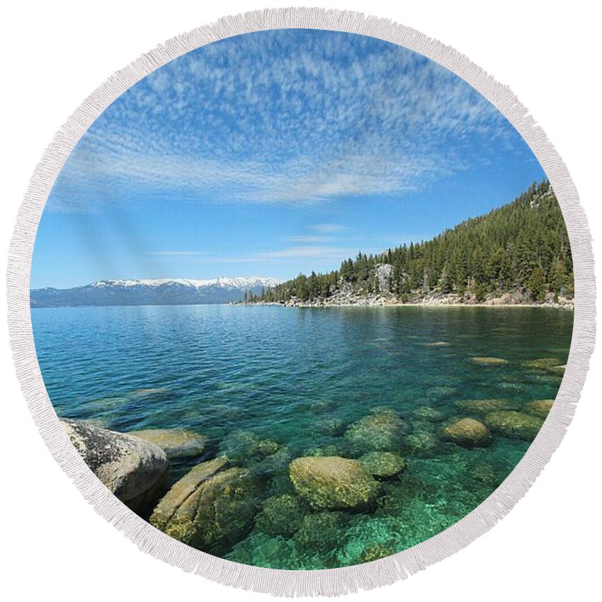 Lake Tahoe Round Beach Towel featuring the photograph Spring Waters by Sean Sarsfield