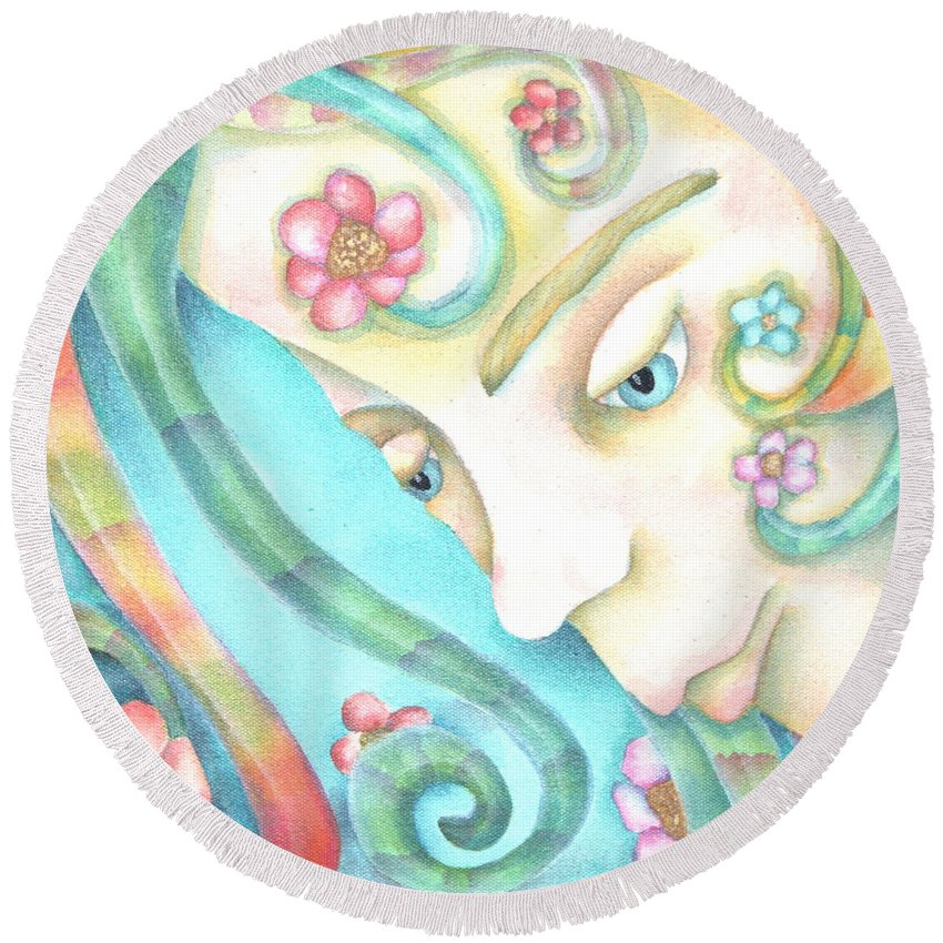 Round Beach Towel featuring the painting Sprite Of Giving Hearts by Jeniffer Stapher-Thomas