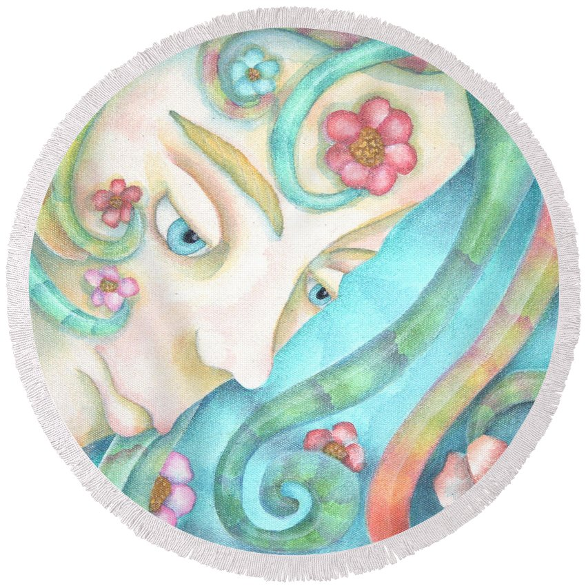 Sprite Round Beach Towel featuring the painting Sprite Of Kind Thoughts by Jeniffer Stapher-Thomas