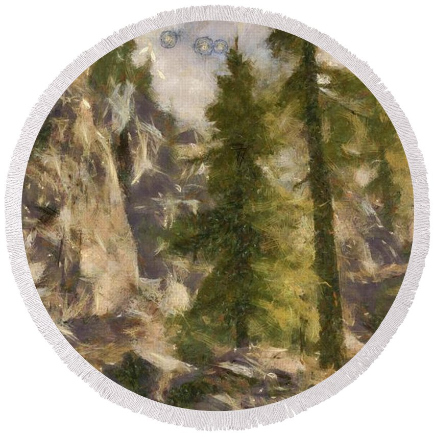 Spruce Round Beach Towel featuring the digital art Spruce by Marjan Mencin