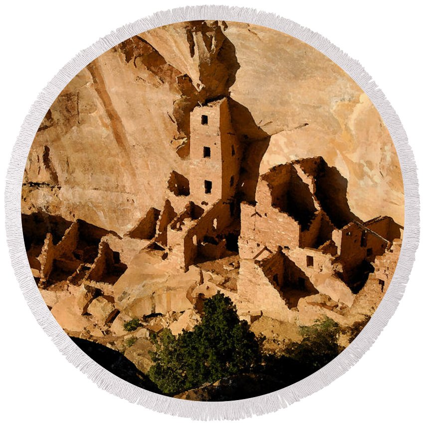 Square Tower Ruin Round Beach Towel featuring the painting Square Tower Ruin by David Lee Thompson