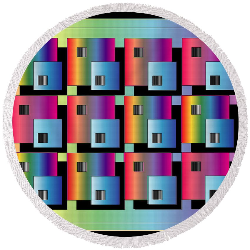 Abstract Round Beach Towel featuring the digital art Squares by George Pasini