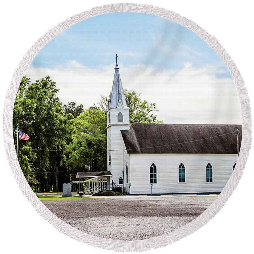 Church Round Beach Towel featuring the photograph St. Margaret Catholic Church - Springfield Louisiana by Scott Pellegrin