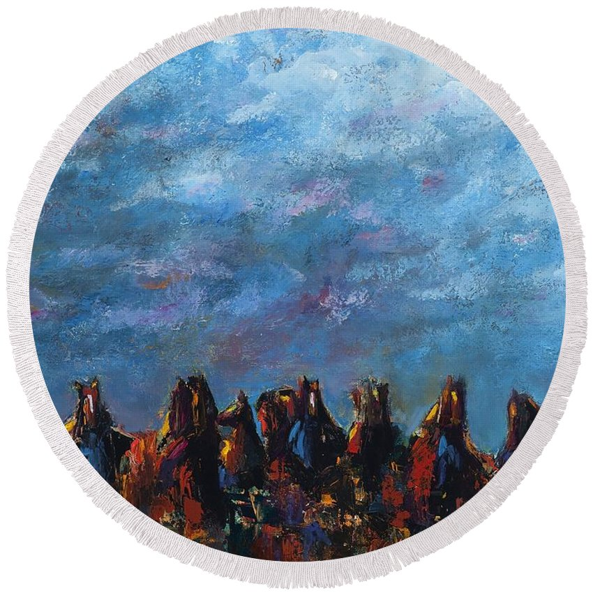 Horses Round Beach Towel featuring the painting Stampede by Frances Marino