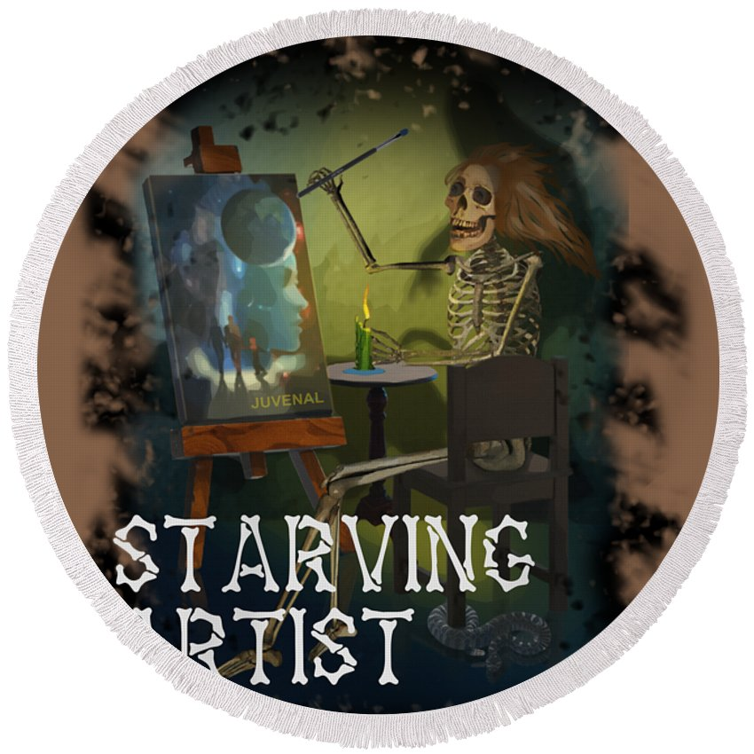 Canvas Prints Round Beach Towel featuring the digital art Starving Artist by Joseph Juvenal